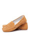 Women Large Size Breathable Hollow Out Comfortable Flat Loafers Shoes - Brown