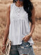 Solid Color Sleeveless Button O-neck Casual Tank Top For Women - White
