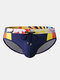 メンズセクシープリントパッチワークドローストリングクイックドライスイムウェアブリーフ - 青い
