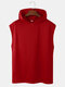 Mens Plain Color Workout Sporty Sleeveless Hooded Tank Top - Red