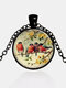 Alloy Glass Vintage Birds Floral Pattern Printed Necklace Pendant - Black