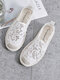 Breathable Hollow Lace Espadrilles Casual Slip On Flat Shoes For Women - White