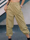 Solid Color Pocket Casual Cargo Pants For Women - Khaki
