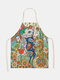 Cartoon Color Cat Pattern Cleaning Colorful Aprons Home Cooking Kitchen Apron Cook Wear Cotton Linen Adult Bibs - #04