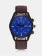 Vintage Men Watch Thin Leather Band Waterproof Digital Quartz Watch - Blue Dial Brown Band