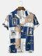 メンズバロックカラーブロックプリントリビアカラーヴィンテージ半袖シャツ - 青