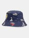 Unisex Cotton Anchor Sailing Lighthouse Print Double-sided Wearable Bucket Hat - #01