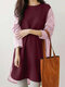 Stripe Stitch Long Sleeve O-neck Casual Blouse for Women - Wine Red
