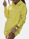 Solid Color Pockets Casual Long Sleeve Hoodie Dress - Yellow