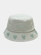 Unisex Washed Made-old Cotton Solid Color Letter Embroidery Love Pattern Fashion Sunscreen Bucket Hat - Light Green