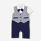 Baby Short Sleeves Summer Jumpsuit Gentleman Rompers with Bow tie For 3-24M  - Gray