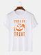 Mens Funny Pumpkin Letter Print Halloween 100% Cotton Short Sleeve T-Shirts - White