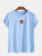 Mens Cotton Letter Graphic Print Round Neck Casual Short Sleeve T-Shirts - Blue