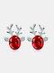 Christmas Crystal Gem Women Ear Stud Stereoscopic Reindeer Earrings - #07