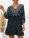 Summer Holiday Knotted V-neck Floral Print Bohemian Dress for Wowen - Navy