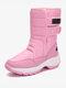 Women Warm Lining Outdoor Slip Resistant Waterproof Hook Loop Mid Calf Snow Boots - Pink