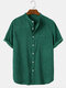 Mens Corduroy Stand Collar Solid Button Up Short Sleeve Shirts With Pocket - Green