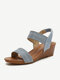 Women Fashion Comfy Soft Wearable Casual Elastic Slip On Wedges Sandals - Blue