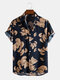 Mens Vintage Leaf Print Button Up Holiday Cotton Short Sleeve Shirts - Navy