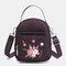 Women Nylon Waterproof Embroidery Casual Shoulder Bag Handbag - Purple