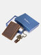 Men RFID Genuine Leather Cow Leather Father's Day Money Clip Card Case Coin Purse Wallet Gift Box Set - Coffee