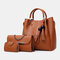Women 3Pcs Tassel Multi-function Handbag Crossbody Bag  - Brown