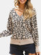 Women Leopard Print V-neck Long Sleeve Casual Cardigan - Brown