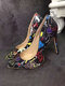 Women Colorful Graffiti Pattern Pointed Toe Slim High Heels Halloween Party Shoes - Black