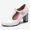 Women Solid Color T-Strap Geometric Graphic Chunky Heel Pumps - White