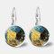 Vintage Geometric Round Oil Painting Series Earrings Metal Glass Gem Daisy Pendant Ear Clips - 10