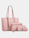 Simple and Fashionable All-match Travel Shopping Large-capacity Crossbody Handbag Four-piece Portable Son Mother Bag - Pink