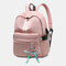 Women USB Charging Butterfly Knot Large Capacity Backpack School Bag - Pink