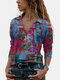 Vintage Printed Long Sleeve Turn-down Collar Blouse For Women - Red