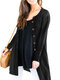 Causal Solid Color Long Sleeve O-neck Plus Size Button Cardigan for Women - Black