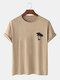 Mens 100% Cotton Coconut Tree Chest Print Holiday Short Sleeve T-Shirts - Khaki