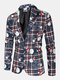 Mens Ugly Cartoon Christmas Element Print Single-Breasted Party Funny Blazer - Khaki