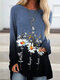 Calico Print Gradient Color Long Sleeve Loose Casual T-Shirt - Blue