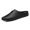 Men Cow Leather Hole Non Slip Backless Casual Slippers - Black