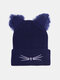 Women Warm Elastic Casual Cartoon Cute Cat Embroidery Pattern Knitted Hat Brimless Beanie - Navy
