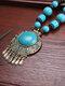 Vintage Bohemian Tassel Round-shape Alloy Wood Resin Necklaces - Blue
