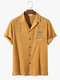 Mens Towelling Palm Tree Embroidery Button Up Short Sleeve Shirts - Yellow