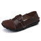 Large Size Women Splicing Leather Casual Hook Loop Soft Flat Loafers - Brown