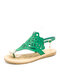 Women Summer Clouds Hollow Clip Toe Hasp Pearl Inlay Flat Sandals - Green