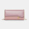 Women PU Chains  6.3 Inch Phone Solid Letter Crossbody Bag - Purple1