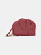 Women Genuine Leather Casual Cute Animal Elephant Pattern Keychain Coin Bag Storage Bag - Wine Red
