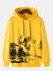 Mens National Style Landscape Painting Print Drawstring Pullover Hoodies - Yellow