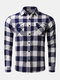 Mens Cotton Dual Pocket Long Sleeve Check Shirt - Blue