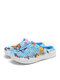 SOCOFY Butterfly Print Comfy Light Weight Warm Slip On Outdoor Cotton Slippers Flat Mule Shoes - Blue