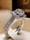 Trendy Geometric Metal Diamond Rings Temperament Rhinestone Rings - #12