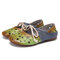 SOCOFY 2 in 1 Comfy Leather Cut out Round Toe Slip-on Mules Lace up Flat Shoes - Green